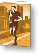 Jogging Greeting Cards - A Man Running Greeting Card by Aloysius PatrIsaac Montemayornio