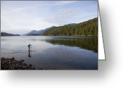 Gill Island Greeting Cards - A Man Standup Paddleboards Across An Greeting Card by Taylor S. Kennedy