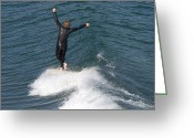 Young Man Greeting Cards - A Man Surfs A Longboard At Refugio Greeting Card by Rich Reid