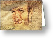 Clint Eastwood Greeting Cards - A man with no name Greeting Card by Mo T