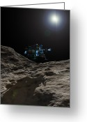 Exploration Digital Art Greeting Cards - A Manned Asteroid Lander Approaches Greeting Card by Walter Myers