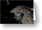 Control Greeting Cards - A Manned Asteroid Lander Descends Greeting Card by Walter Myers