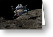 Science Fiction Digital Art Greeting Cards - A Manned Asteroid Lander Prepares Greeting Card by Walter Myers