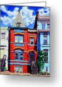 Colorful Buildings Greeting Cards - A Mans Castle Greeting Card by John Lautermilch