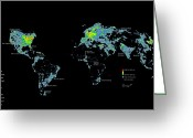Diagrams Greeting Cards - A Map Of Nighttime Earth Created Greeting Card by Sean Mcnaughton