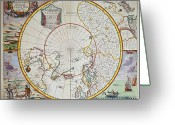 Exploration Drawings Greeting Cards - A Map of the North Pole Greeting Card by John Seller