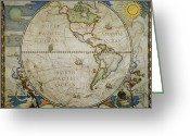 Mythological Greeting Cards - A map of the western Greeting Card by Victor R. Boswell, Jr
