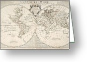 Maps Greeting Cards - A Map of the World Greeting Card by John Senex