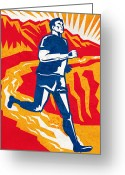 Jogging Greeting Cards - A Marathon Runner Greeting Card by Aloysius PatrIsaac Montemayornio