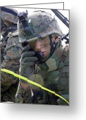 Transceiver Greeting Cards - A Marine Communicates Over The Radio Greeting Card by Stocktrek Images