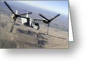 Air-to-air Greeting Cards - A Marine Corps Mv-22 Osprey Prepares Greeting Card by Stocktrek Images