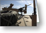 Transceiver Greeting Cards - A Marine Glances Down Into His Humvee Greeting Card by Stocktrek Images