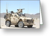 Armored Vehicles Greeting Cards - A Marine Sniper Provides Security Greeting Card by Stocktrek Images