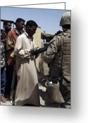 Iraqi Military Greeting Cards - A Marine Watches Over A Crowd As An Greeting Card by Stocktrek Images