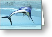 Sea Life Digital Art Greeting Cards - A Marlin Dives In Shallow Waves Looking Greeting Card by Corey Ford