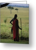 African Warrior Greeting Cards - A Masai Warrior With A Spear Looking Greeting Card by Michael Melford