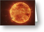 Red Dwarfs Greeting Cards - A Massive Red Dwarf Consuming Planets Greeting Card by Tomasz Dabrowski