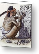 Peoples Greeting Cards - A Maya Artisan Readies A Limestone Greeting Card by Terry W. Rutledge