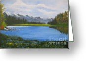 Snow Capped Painting Greeting Cards - A meadow near Mount Lassen  Greeting Card by Julie Sauer