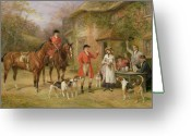 Hounds Greeting Cards - A Meeting at the Three Pigeons Greeting Card by Heywood Hardy