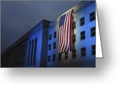 September 11 Greeting Cards - A Memorial Flag Is Illuminated On The Greeting Card by Stocktrek Images