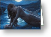 Shadow Greeting Cards - A mermaid in the moonlight - love is mystery Greeting Card by Marco Busoni