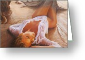 Featured Painting Greeting Cards - A Mermaid In The Sunset - Love Is Seduction Greeting Card by Marco Busoni