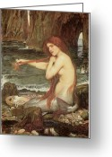 John William Waterhouse Greeting Cards - A Mermaid Greeting Card by John William Waterhouse