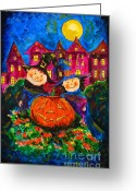 Trick Painting Greeting Cards - A Merry Halloween Greeting Card by Zaira Dzhaubaeva