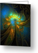 Abstract Flowers Greeting Cards - A Midsummer Night Greeting Card by Amanda Moore