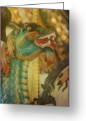 Amusement Parks Greeting Cards - A Mighty Dragon Greeting Card by Jan Amiss Photography