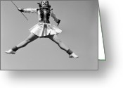 Cheerleader     Greeting Cards - A Mighty Leap Greeting Card by Orlando