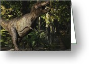Animal Hunting Greeting Cards - A Mighty Tyrannosaurus Rex Hunts Greeting Card by Corey Ford