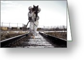 Railroad Tracks Greeting Cards - A Military Dog Handler Uses An Greeting Card by Stocktrek Images