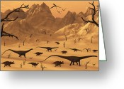 Dinosaurs Greeting Cards - A Mixed Herd Of Dinosaurs  Migrate Greeting Card by Mark Stevenson