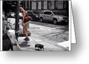 Petstagram Greeting Cards - A Model & A Pig Greeting Card by Natasha Marco