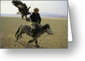 Ethnic And Tribal Peoples Greeting Cards - A Mongolian Eagle Hunter In Kazahkstan Greeting Card by Ed George