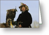 Ethnic And Tribal Peoples Greeting Cards - A Mongolian Eagle Hunter In Kazakhstan Greeting Card by Ed George