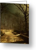 Tree-lined Greeting Cards - A Moonlit Lane Greeting Card by John Atkinson Grimshaw
