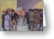 Betting Greeting Cards - A Morning at Tattersalls Greeting Card by Robert Polhill Bevan