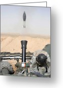 Iraq Greeting Cards - A Mortar Is Fired From A Stryker Greeting Card by Stocktrek Images