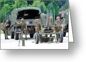 Belgian Army Greeting Cards - A Mortar Section Of The Belgian Army Greeting Card by Luc De Jaeger