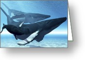 Sea Life Digital Art Greeting Cards - A Mother Humpback Whale Is Escorted Greeting Card by Corey Ford