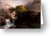 White River Scene Greeting Cards - A Mountain Stream Greeting Card by Thomas Moran