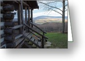 Log Cabin Photographs Photo Greeting Cards - A Mountain View Greeting Card by Robert Margetts