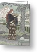 Violinist Greeting Cards - A Musician Greeting Card by Eugene Grasset