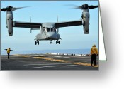 Aircraft Carrier Greeting Cards - A Mv-22 Osprey Aircraft Prepares Greeting Card by Stocktrek Images