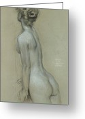 Charcoal Greeting Cards - A Naiad in The Lament for Icarus Greeting Card by Herbert James Draper