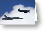 F-18 Greeting Cards - A Navy F-18 And A Wwii Vintage F4u Greeting Card by Medford Taylor