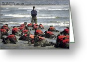 Endurance Greeting Cards - A Navy Seal Instructor Assists Students Greeting Card by Stocktrek Images